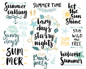 Wall Mural - Summer Lettering Design Set - hand drawn.