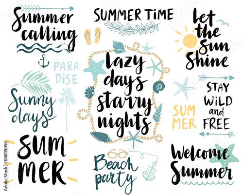 Wall mural Summer Lettering Design Set - hand drawn.