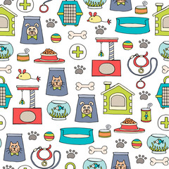 Vector seamless pattern with hand drawn colored goods for pets