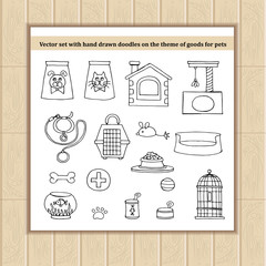 Vector set with hand drawn isolated doodles of goods for pets