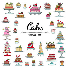 Vector set with hand drawn, isolated and colored doodles of cake