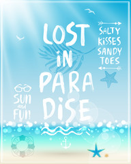 Wall Mural - Lost in paradise poster with handwritten calligraphy.