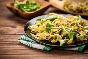 Cooked tagliatelle on a plate