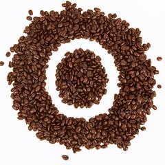 Coffee beans text , O alphabet