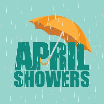 Umbrella in the rain. April showers. EPS 10 vector.