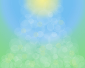 Abstract Sunny natural bokeh defocused background. Raster illustration.