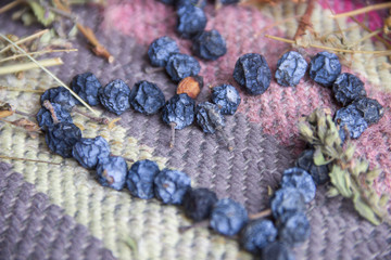 Dried blue berries on colorful ethnic in shape of heart.