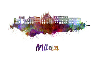 Fotomurales - Milan skyline in watercolor