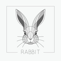 Abstract rabbit bunny head emblem icon design with elegant line shapes style. Vector illustration.