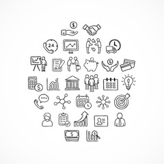 Business vector icons. Hand drawn doodle symbols and infographic elements