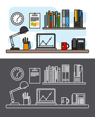 Workspace and office thin line concept. Workspace and office outline desk items. Vector illustration
