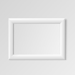 Realistic White horizontal frame for paintings