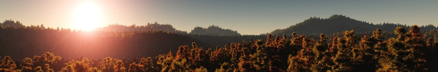 panorama of wooded hills, mountain sunset, mountain and forest, the light over the mountains