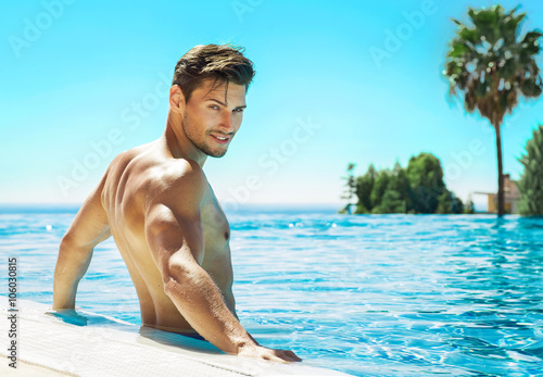 Sexy Male Model Posing In Swimming Pool Stock Photo And Royalty Free Images On Fotolia