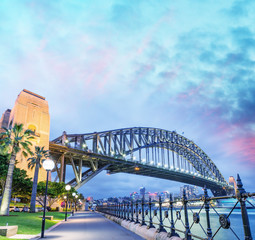 Sydney Harbour Bridge with a beautiful sunset, NSW - Australia