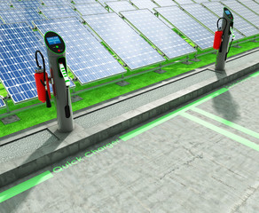Charge points electric cars and solar panels