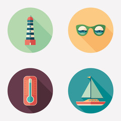 Sea and beach flat round icon set.