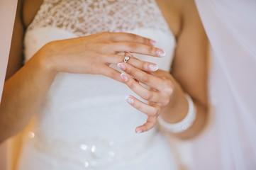 bride hands wedding ring