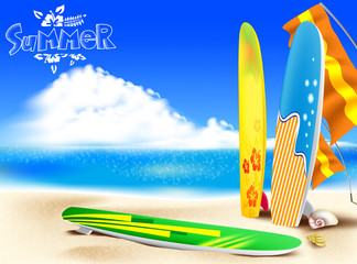 Summer Adventure in the Beach with a Colorful Surfboards and Seashells including Bright Cloudy  Sky Background. Vector Illustration
