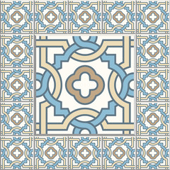 Retro Floor Tiles patern. Dutch tiles vector illustration.