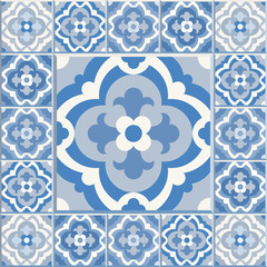 Retro Floor Tiles patern. Vector Dutch tile illustration.