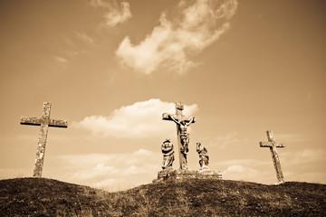 Old Calvary crucifixion sculpture in cemetery, Croatia
