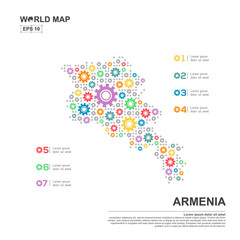 Map Of Armenia Infographic design template with gear chain