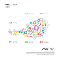 Map Of Austria Infographic design template with gear chain