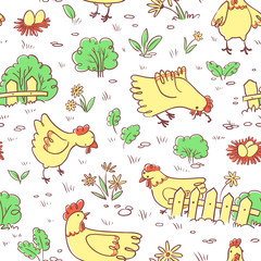 Doodle Chicken on meadow vector seamless pattern