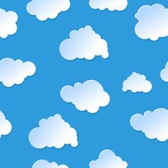 Keuken foto achterwand Hemel Vector seamless cute cartoon paper or plastic clouds / sky backg