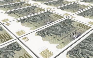 Georgian lari bills stacks background. Computer generated 3D photo rendering.
