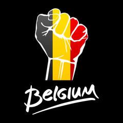 Fist of Belgium flag painted, multi purpose concept - isolated on white background. lettering hand-written Belgium