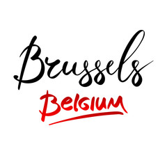 Belgium, Brussels, hand-lettered Country and Capital, handmade calligraphy, vector