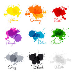 signed the names of colors. colorful watercolor drops.  hand-written name of the color yellow, orange, red, purple, blue, green, grey, black, white.