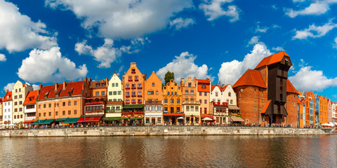 Panorama of Old Town with Old harbour crane and city gate Zuraw, Dlugie Pobrzeze and Motlawa River, Gdansk, Poland