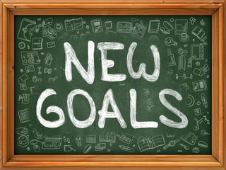 New Goals Concept. Modern Line Style Illustration. New Goals Handwritten on Green Chalkboard with Doodle Icons Around. Doodle Design Style of New Goals Concept.