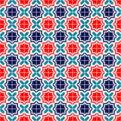 Blue red and white moroccan tiles seamless pattern, vector