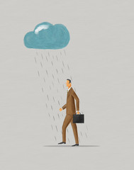 Businessman walking under raincloud.