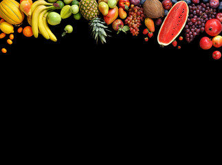 Deluxe fruits background. Studio photography different fruits isolated on black background. Copy space. High resolution product