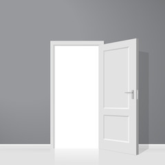 Open door. Realistic vector illustration