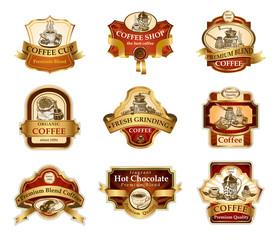 Coffee ornamental labels set.