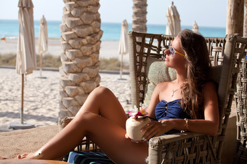 young female person enjoying vacation time