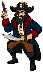 Vector illustration of a cartoon pirate.