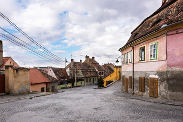 Colored houses with blue sky in Sibiu city, Romania