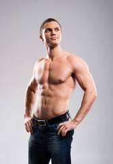 Strong, fit and sporty bodybuilder man