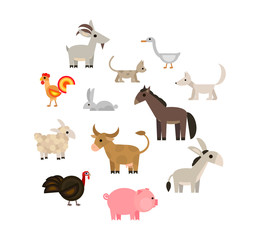 Farm animals set on white background, flat, vector