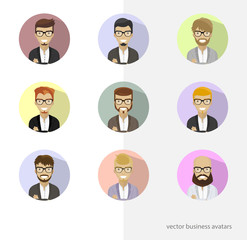 Set business avatars, people flat characters