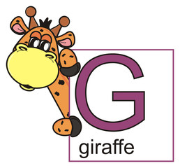 animal, isolated, toy, cartoon, letter, card, icon, graphic, illustration, book, study, alphabet, giraffe, spots, horns, neck, long, ABC, zoo, G, letter G