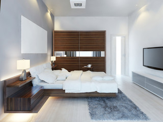 The design of modern light bedroom with a large sliding closet.