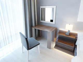 Modern dressing table with chair and mirror.